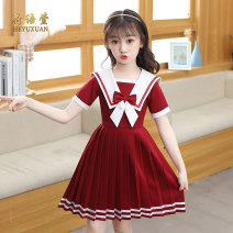Dress 2207 red, 2207 dark blue, a826 red, a826 dark blue, 2203 red, 2203 pink, 2206 red, 2206 Pink female He Yuxuan 110cm,120cm,130cm,140cm,150cm,160cm Polyester 100% summer princess Short sleeve Solid color polyester fiber Pleats Class B 14, 3, 5, 9, 12, 7, 8, 6, 13, 11, 4, 10 Chinese Mainland