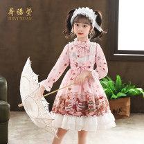 Dress female He Yuxuan 110cm,120cm,130cm,140cm,150cm,160cm Polyester 100% spring and autumn princess Long sleeves Broken flowers cotton A-line skirt Class B Chinese Mainland Guangdong Province Shantou City