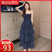 Dress Summer 2020 Blue wave point collection and purchase, priority delivery S M L XL longuette singleton  Sleeveless commute One word collar High waist Dot Socket Cake skirt other camisole 18-24 years old Type A Small room Korean version Ruffle pleated open back pleated lace up strap back print