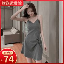 Dress Summer 2020 Black gray collection baby priority delivery XS S M L XL 2XL Short skirt singleton  Sleeveless commute V-neck High waist Solid color Socket A-line skirt other camisole 18-24 years old Type A Small room Korean version 7003# More than 95% other other Other 100%