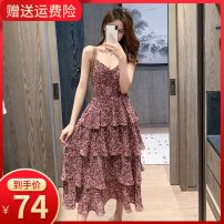 Dress Summer 2020 Flower cake skirt collection and purchase, priority delivery S M L XL 2XL longuette singleton  Sleeveless commute V-neck Elastic waist Decor Socket A-line skirt other camisole 18-24 years old Type A Small room Korean version Pleated backless printing MLS6639 More than 95% Chiffon