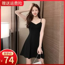 Dress Summer 2020 XS S M L XL 2XL Short skirt singleton  Sleeveless commute V-neck High waist Solid color zipper A-line skirt other camisole 18-24 years old Type A Small room lady zipper More than 95% polyester fiber Polyester 100% Pure e-commerce (online only)