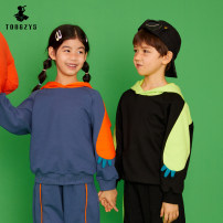 Sweater / sweater Tongzhen's life Green, orange neutral 110cm,120cm,130cm,140cm,150cm,160cm spring and autumn No detachable cap leisure time Socket routine There are models in the real shooting cotton Solid color Cotton 85% polyester 15% TW11050