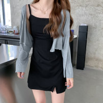 Dress Summer 2020 S M L XL Short skirt Two piece set Long sleeves commute One word collar High waist Solid color Socket other routine camisole 18-24 years old Type A Korean version More than 95% other Other 100% Pure e-commerce (online only)