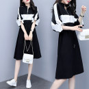 Dress Summer 2020 Black and white M L XL 2XL 3XL S Mid length dress singleton  Short sleeve commute V-neck middle-waisted other Socket A-line skirt raglan sleeve Others 25-29 years old Zhuonara Korean version Lace up button zipper More than 95% polyester fiber Polyester 100%