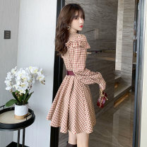 Dress Spring 2021 lattice S,M,L,XL Middle-skirt singleton  Long sleeves commute Crew neck lattice routine 18-24 years old 25 and a half degrees Simplicity Ruffles, stitching, buttons, zippers C3288 71% (inclusive) - 80% (inclusive) polyester fiber