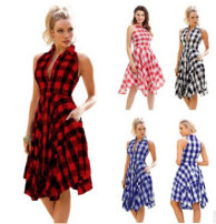 Dress Summer 2020 Red and white, red and black, blue and white, black and white L,M,S,XL,XXL Short skirt singleton  Sleeveless middle-waisted Single breasted Irregular skirt Other