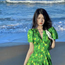 Women's large Summer 2021 green S M L XL Dress Self cultivation Socket 8611# Ouyidi Other 100% Pure e-commerce (online only)