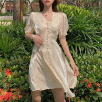 Women's large Summer 2021 Apricot dress pink dress S M L Dress singleton  Self cultivation Socket Short sleeve Solid color V-neck puff sleeve Ouyidi 18-24 years old 51% (inclusive) - 70% (inclusive) Middle-skirt Other 100% Pure e-commerce (online only)