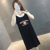 Dress Summer 2021 Black white green yellow S M L XL longuette Fake two pieces Short sleeve commute V-neck letter Socket routine Others 25-29 years old Rhyme mark Korean version Patchwork printing YH15633HT19879029 More than 95% other Other 100% Pure e-commerce (online only)