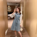 Dress Summer 2021 Light blue denim skirt S M L XL Middle-skirt singleton  elbow sleeve commute Polo collar A-line skirt other Others 18-24 years old Type A Qimia Korean version More than 95% Denim other Other 100%
