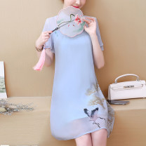 Dress Summer 2021 938 light blue 8570 lotus 8570 blue S M L XL 2XL 3XL 4XL 5XL Middle-skirt singleton  Short sleeve stand collar zipper 25-29 years old Xin Weili XWL938# 71% (inclusive) - 80% (inclusive) polyester fiber Polyester 80% other 20% Pure e-commerce (online only)