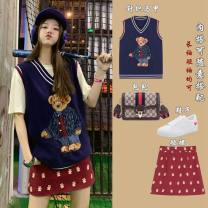 Fashion suit Autumn 2020 S M L Bear vest bear skirt bear sweater Measuring margin cy6866 Polyester 100% Pure e-commerce (online only)