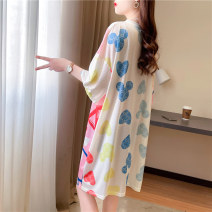 Dress Summer 2021 White Average size [80kg ~ 200kg] Mid length dress singleton  Short sleeve commute Crew neck Loose waist Cartoon animation Socket other routine Others 18-24 years old Type H Blue butterfly Korean version printing LT#2104 81% (inclusive) - 90% (inclusive) polyester fiber