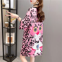 Dress Spring 2021 M L XL 2XL Mid length dress singleton  Short sleeve commute Crew neck Loose waist Cartoon animation Socket other routine Others 18-24 years old Type H Blue butterfly Korean version printing A1943 81% (inclusive) - 90% (inclusive) polyester fiber Pure e-commerce (online only)
