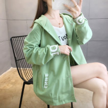 short coat Autumn 2020 M L XL 2XL 3XL Long sleeves Medium length routine singleton  easy commute routine Hood Single breasted letter 18-24 years old Blue butterfly (women's wear) 71% (inclusive) - 80% (inclusive) Pocket button stitching print polyester fiber polyester fiber Polyester 75% cotton 25%