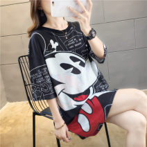 T-shirt M L XL XXL Spring 2020 Short sleeve Crew neck easy Medium length routine commute polyester fiber 96% and above 18-24 years old Korean version originality Cartoon letters Blue butterfly XMB#1919 printing Polyester 100% Pure e-commerce (online only)