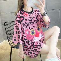 Dress Summer 2020 M L XL 2XL Mid length dress singleton  Short sleeve commute Crew neck Loose waist Cartoon animation Socket other routine Others 18-24 years old Type H Blue butterfly Korean version Hollow 3D printing XMB#1943 More than 95% polyester fiber Polyester 100% Pure e-commerce (online only)