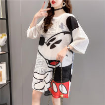 Dress Spring 2021 M L XL 2XL Mid length dress singleton  Short sleeve commute Crew neck Loose waist Cartoon animation Socket other routine Others 25-29 years old Type H Blue butterfly Korean version printing 1919B 81% (inclusive) - 90% (inclusive) polyester fiber Pure e-commerce (online only)