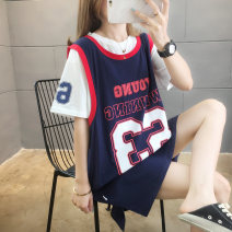 Dress Summer 2020 M L XL Mid length dress Fake two pieces Short sleeve commute Crew neck Loose waist letter Socket other routine Others 25-29 years old Type H Blue butterfly Korean version Patchwork printing 51% (inclusive) - 70% (inclusive) polyester fiber Pure e-commerce (online only)