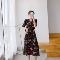 Dress Summer 2020 Decor S M L XL longuette singleton  Short sleeve commute V-neck High waist Decor Single breasted routine 30-34 years old Parvus Korean version Lace up P0074 More than 95% Chiffon polyester fiber Other polyester 95% 5% Exclusive payment of tmall