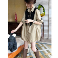 Dress Summer 2021 Grey Khaki S M L XL Short skirt singleton  Long sleeves commute stand collar Loose waist Solid color Single breasted Irregular skirt other Others 30-34 years old Type H Autumn inch Korean version Splicing SC203f22416p0120 More than 95% other Other 100%