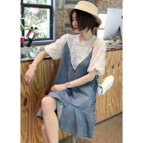 Dress Spring 2021 grey S M L XL Mid length dress Fake two pieces Short sleeve commute Crew neck Loose waist Solid color Socket A-line skirt bishop sleeve Others 30-34 years old Autumn inch Korean version More than 95% cotton Cotton 100%
