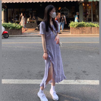 Dress Summer 2020 XS S M L Mid length dress singleton  Short sleeve commute V-neck Broken flowers Socket A-line skirt routine 18-24 years old Type A Korean version More than 95% other Other 100%