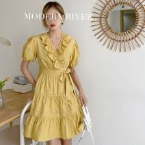 Dress Summer 2021 White, ginger, sky blue S,M,L Mid length dress singleton  Short sleeve commute V-neck High waist Solid color Irregular skirt routine Others 18-24 years old Type H 51% (inclusive) - 70% (inclusive)