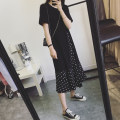 Women's large Summer 2020 black Dress Fake two pieces Sweet easy moderate Socket Short sleeve Dot Crew neck Medium length Three dimensional cutting routine Ying Xiyue Three dimensional decoration Medium length Polyester 60% other 40% Pure e-commerce (online only) Lotus leaf edge solar system