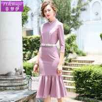 Dress Autumn of 2019 Pink Red Lake Blue S M L XL 2XL 3XL Mid length dress singleton  three quarter sleeve commute Crew neck middle-waisted Solid color zipper A-line skirt routine Others 30-34 years old Type H FX.&Mongyi lady Lace up zipper FX9QL25371 More than 95% polyester fiber
