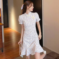 Women's large Summer 2021 Pink flower purple flower S M L XL Dress singleton  commute Short sleeve Decor lady stand collar pagoda sleeve 8227# Raspberry feather 18-24 years old Short skirt Other 100% Pure e-commerce (online only)