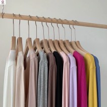 T-shirt Soft clothes black soft clothes pink soft clothes camel soft clothes coffee soft clothes white soft clothes gray Average size (80-150 kg) Spring 2020 Long sleeves Crew neck Regular routine polyester fiber 96% and above Solid color KEHTD Splicing Polyester 100%