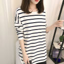 T-shirt M L XL 2XL Winter of 2019 Long sleeves Crew neck easy Medium length routine commute cotton 86% (inclusive) -95% (inclusive) 18-24 years old Korean version originality Thick horizontal stripe color matching Cotton 95% polyurethane elastic fiber (spandex) 5% Pure e-commerce (online only)