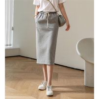 skirt Summer 2021 S M L Black grey olive green Middle-skirt commute High waist skirt Solid color Type H T2104107BT 81% (inclusive) - 90% (inclusive) Tailor  buddy cotton Simplicity Cotton 85% polyester 15%
