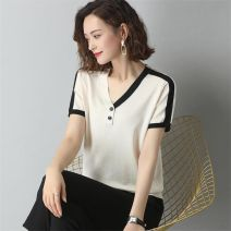 T-shirt V-neck easy routine other 96% and above Splice, button, thread