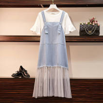 Women's large Summer of 2019 Light denim blue white T-shirt + skirt M-80-100 Jin, l-100-120 Jin, xl-120-145 Jin, 2xl-145-165 Jin, 3xl-165-185 Jin, 4xl-185-200 Jin Dress Two piece set commute easy moderate Socket Short sleeve Solid color Korean version routine Denim, cotton Collage Gauze longuette