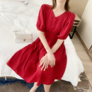 Dress Summer 2020 Pink white red S M L Mid length dress singleton  Short sleeve commute V-neck High waist Solid color Socket A-line skirt puff sleeve Others 25-29 years old Feirong Button More than 95% Chiffon polyester fiber Polyester 100% Exclusive payment of tmall