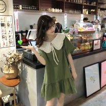 Dress Summer 2020 Army green orange S M L XL 2XL 3XL 4XL Short skirt singleton  Short sleeve Sweet Doll Collar Loose waist Solid color Socket Ruffle Skirt routine Others 18-24 years old More than 95% other Other 100% Mori Pure e-commerce (online only)