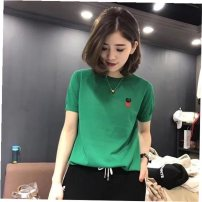Women's large Summer 2021 Green [love] white [love] red [love] black [love] Khaki [love] green [letter] white [letter] red [letter] black [letter] Khaki [letter] S M L XL XXL 3XL 4XL Other oversize styles singleton  commute easy thin Socket Short sleeve Solid letters Korean version Crew neck routine