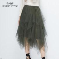 skirt Winter of 2019 S M L Black green (4 days in advance) Middle-skirt High waist SK19129 More than 95% Yishanggu polyester fiber Polyester 100%