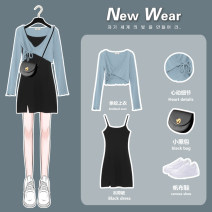 Dress Spring 2021 Blue top [single piece] 829 black suspender skirt Blue Top + 829 black suspender skirt S M L XL Short skirt Two piece set Long sleeves commute V-neck High waist Solid color other A-line skirt camisole 18-24 years old Type A come of age Korean version 0221-LPL02 More than 95%