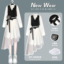 Dress Spring 2021 Black vest [one piece] white shirt skirt [one piece] Black Vest + white shirt skirt [two piece set] S M L XL Mid length dress Two piece set Long sleeves commute Polo collar High waist Socket Irregular skirt Others 18-24 years old Type A come of age Korean version Splicing mesh