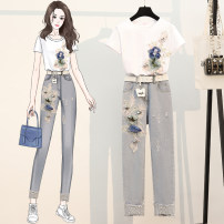 Women's large Summer 2021 suit Other oversize styles Two piece set commute Self cultivation moderate Socket Short sleeve lady Crew neck routine cotton Three dimensional cutting LJR8811#-3 Beautiful and beautiful Polyester 80% other 20% trousers
