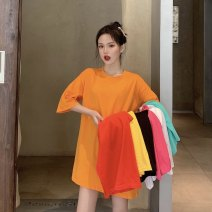 T-shirt M L XL Summer 2020 Short sleeve Crew neck easy Medium length routine commute cotton 96% and above 18-24 years old Korean version youth Solid color Caffein vine Cotton 100% Pure e-commerce (online only)