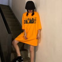 T-shirt Orange Black M L XL Summer 2020 elbow sleeve Crew neck easy Medium length routine commute cotton 96% and above 18-24 years old Korean version youth character Caffein vine printing Cotton 100% Pure e-commerce (online only)