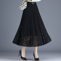 skirt Spring 2021 27/M 28/L 29/XL 30/2XL 31/3XL 32/4XL black longuette commute High waist A-line skirt Solid color Type A 25-29 years old ZY8816 Lace Yuechenxi Lace patch lady Pure e-commerce (online only)