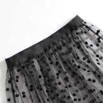 skirt Autumn of 2019 Average size black Mid length dress Versatile Natural waist Ruffle Skirt Dot Type A 18-24 years old