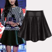 skirt Autumn of 2018 XS,S,M,L,XL,2XL Black [side zipper], black [elastic back waist] Short skirt Versatile High waist Umbrella skirt Solid color Type A 18-24 years old Q6961 More than 95% other Isaic / isek other Fold, wave 251g / m ^ 2 (including) - 300g / m ^ 2 (including)