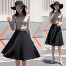skirt Autumn of 2019 S,M,L,XL,2XL black Middle-skirt Sweet High waist Umbrella skirt Solid color 18-24 years old 51% (inclusive) - 70% (inclusive) other YSX other Splice, collage / splice